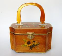 Vintage 50s Wooden Decoupage Lucite Handle Box by hillbillyfilly, $88.00