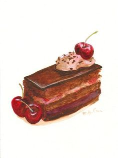 Watercolor painting, chocolate cake with coffee cream and cherries. Cake Drawing, Food Drawing, Dessert Illustration, Watercolor Illustration, Watercolor Food, Watercolor Painting, Food Painting, Cake Painting, Food Sketch