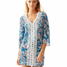 """*sale* NWT Lilly Pulitzer tunic dress The Brooke Tunic Dress is a vintage inspired tunic dress for every day wear on vacation. Just add your sandals or wedges for a day about town.   V-Neck Tunic Dress With Top Applied Lace And Side Slit Details. 18"""" From Natural Waist To Hem.   Cotton Lawn - Printed (100% Cotton).   Machine Wash Cold Inside Out.   Imported Lilly Pulitzer Dresses"""