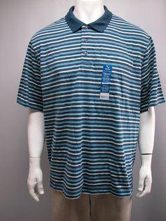 NWT Puritan  2XL (50/52) Men Polo Shirt Multi-Color Striped Comfortable Casual #Puritan #PoloShirt #Casual