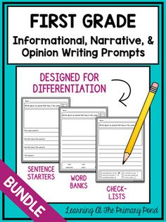 This is a set of first grade writing prompts designed to help you differentiate during writing time! Each of the 60 prompts comes with several graphic organizers, many options for drafting paper (with built-in scaffolds), and publishing/final draft paper. 1st Grade Writing Prompts, Narrative Writing Prompts, First Grade Writing, Sentence Writing, Teaching Writing, Writing Ideas, Writing Workshop, Writing Lessons, Kids Writing
