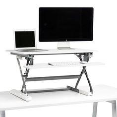 White Medium Peak Adjustable Height Standing Desk Riser,White