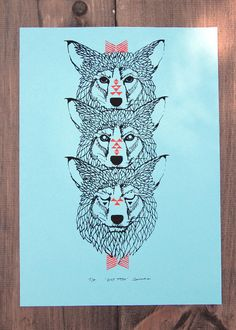 Wolf Totem - Two Color Modern Tribal Wolves Screen Print - Editon of 90 - by Bark Decor. $27.00, via Etsy. tattoo?