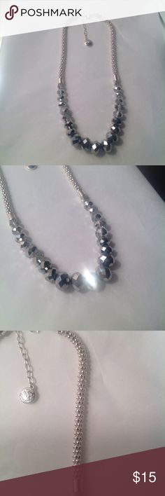 "JNY silver-tone crystal & hematite-tone necklace jones new york necklace, silver-tone crystal and hematite-tone frontal necklace. 21"" in total length. 17"" bell. Beautiful. Has slight little imperfections on beads -- please refer to last photo. Jones New York Jewelry Necklaces"