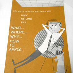 Vintage USG Ceiling Tile home decor brochure ad Fashion #ceilingdecor #usgceiling #homedecor #brochure #printad #retrohome #retrodecor #product #howto #guide #catalog #etsy #etsyseller #etsyshop #giftideas #vintage #retro