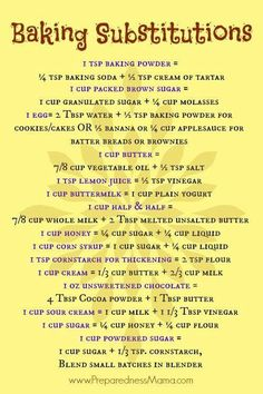 Baking Substitutions - Don& Get Caught With Your Measuring Cups Empty - Pre. Baking Substitutions - Don& Get Caught With Your Measuring Cups Empty - PreparednessMama Baking Tips, Baking Recipes, Baking Secrets, Meat Recipes, Cooker Recipes, Vegetarian Recipes, Egg Free Recipes, Healthy Recipes, Healthy Cooking