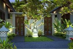 5 Inviting ideas: Front Garden Landscaping Full Sun garden landscaping with stones flagstone path. Bali Garden, Balinese Garden, Garden Villa, Sun Garden, Garden Gates, Landscape Architecture, Landscape Design, Garden Design, Architecture Design