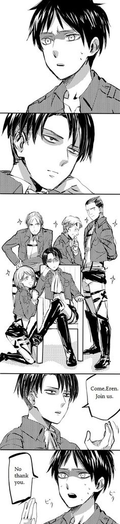 Rivaille (Levi) x Eren Jaeger <<< is it just me or does this look like an Ouran High School cross over???