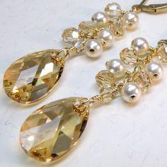 Champagne Crystal Earrings, Pearls, Gold, Statement, Wedding, Bridal, Custom, Handmade Jewelry, Valentine. $72.00, via Etsy.