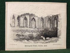 Antique Victorian Engraving Multangular Tower, Interior, York - W.H. Bartlett