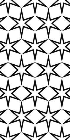 Seamless black white hexagonal vector star pattern design background