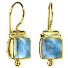 Materials Gold and Aquamarines. Specifics The earrings are approx 1 inch long and inch wide. Inexpensive Jewelry, Cheap Jewelry, Jewelry Gifts, Jewelry Ideas, Jewelry Box, Unusual Jewelry, Modern Jewelry, Greek Jewelry, Silver Jewelry