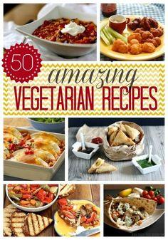 50 Amazing Vegetarian Recipes - Main dishes, side dishes, apps & desserts #vegetarian #recipes