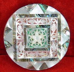 CARVED MOTHER OF PEARL AND ABALONE SHELL POWDER COMPACT BY MASCOT ENGLAND #Mascot #powdercompact