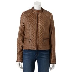 NWT Faux-Leather Jacket Brown J2 by Jou Jou Quilted Garment-Dyed  sz XS MSRP $78 #J2 #Motorcycle