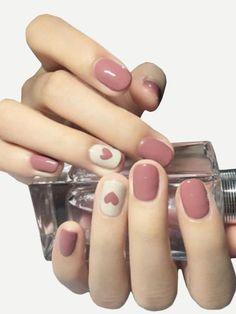 Heart Pattern Fake Nails 24pcs #fitnessgirl #makeup #makeupgoals #makeuptips #beautyblogger #beauty #makeuplooks