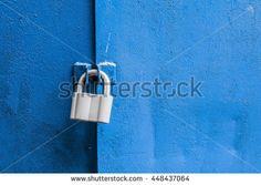 Lock on the blue metal door. Close-up