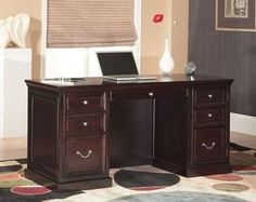 #Bonanza #Office #Desk #Executive #Elegant #Space #Saver #Double #Pedestal #Home #Wood #Furniture