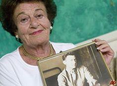 Gerda Weissman Klein, holocaust survivor holding photo of her husband Kurt Klein, one of her American liberators