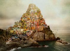 "Altered image by Dina Bova - ""Babylon--Made in Italy is inspired by the story of the Babylon tower, the painting by Pieter Bruegel and by a trip to the beautiful Cinque Terre in Italy""; Photography Contests, Art Photography, Photography School, Digital Photography, Smithsonian Photo Contest, Tower Of Babel, Cinque Terre Italy, Colossal Art, Modern Metropolis"