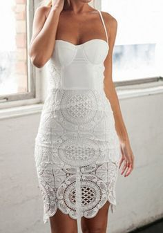 White Patchwork Lace Condole Belt Boat Neck Slim Sexy Dress