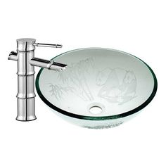Bathroom Etched #Glass Vessel #Sink Bamboo Faucet Combo # 16965 Shop --> http://www.rensup.com/Sink-Basins/16965.htm
