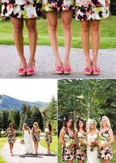 Love the fun and girly shoes on the bridesmaids! Patterned Bridesmaid Dresses, Rustic Chic, Wedding Bridesmaids, Chic Wedding, Colorado, Wedding Inspiration, Girly, Couture, Weddings