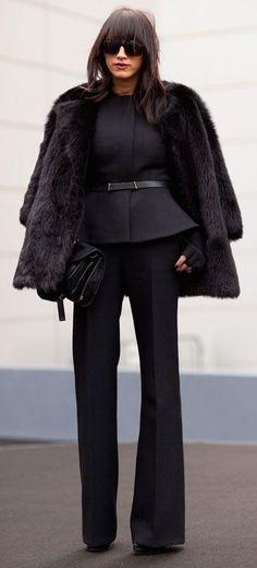 peplum top, fur coat and trousers