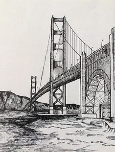 landscape drawings Golden Gate Bridge Drawing by Carol Nistle Architecture Drawing Art, Art And Architecture, Perspective Art, Golden Gate Bridge Drawing, Cityscape Drawing, Sketches