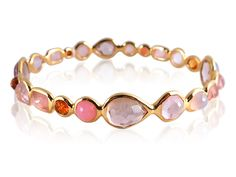 Ippolita Rock Candy Bangle Bracelet, Fashioned in 18K Yellow Gold, Featuring the Pink Sand Color Palette