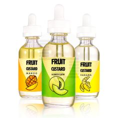 Vapetasia brings you a 60ml line of delicious fruit-infused custards. https://www.strictlyecig.com/vapetasia-fruit-n-custard-60ml.html Honeydew Custard - Fluffy and rich custard bursting with ripe melon flavor. Banana Custard - Sweet ripe bananas and rich custard blended perfectly into a comforting dessert.