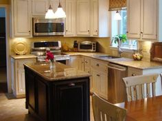 A small kitchen island can be perfect for adding versatility to a compact cooking space.