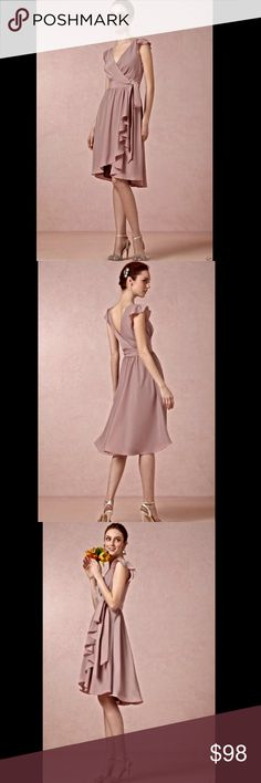 Anthropologie BHLDN muted mauve nude silky Dress 6 Anthropologie BHLDN muted mauve nude silky Sydney Dress We love this wrap dress from Hitherto for its universally flattering shape and soft cascading ruffles.  From the flutter sleeves to the graceful skirt, this style is ideal for gals of every figure. Wrap closure.  A BHLDN exclusive New Without Tags  *  Size:  6  * there is a black line through the tag to prevent store return  Polyester crepe;  polyester satin lining.  Dry clean…