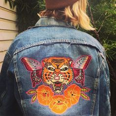 Give @christinahurtsmith a rad tattoo, and you might get something like this in return. @premiumtattoooakland here's a jacket tattoo for your skin tattoo! #chainstitch #tattoo