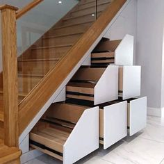 Wooden Staircases, Wooden Stairs, Modern Staircase, Spiral Staircases, Painted Stairs, Space Under Stairs, Under Stairs Cupboard, Under Stairs Drawers, Staircase Storage