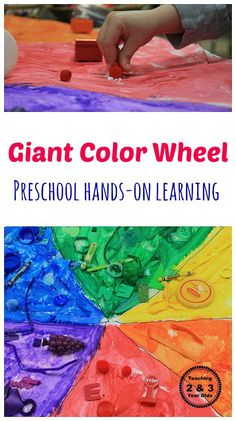 Teaching Colors to Preschoolers - Make a giant color wheel and then have your students bring items from home to glue on the matching color. We do this every year and the preschoolers love it! Teaching 2 and 3 Year Olds Toddler Learning Activities, Play Based Learning, Indoor Activities For Kids, Color Activities, Preschool Activities, Preschool Lessons, Summer Activities, Preschool Curriculum, Preschool Kindergarten