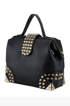 Boston bag crafted in PU, featuring the leather look panel with gold-tone cone shaped rivet detail, reinforced metal corners, single grab handle to the top, with a detachable long shoulder strap.
