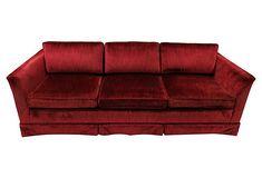 "Tuxedo-Style Velvet Sofa  Gorgeous deep red velvet tuxedo-style sofa by Clyde Pearson. Seat 17.5"" H. Maker's tag attached"