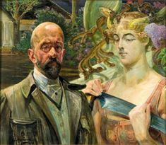 Jacek Malczewski - Self-portrait with Thanatos  1920