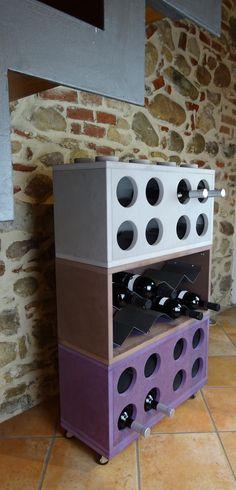 Modular wood wine cellar/bottle holder by Cool Art