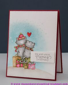 The Pink Envelope: Newton's Christmas Cuddles with No Line watercoloring |  stamp set by Newton's Nook Designs #newtonsnook