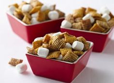 Gluten FREE - Hot Buttered Yum Chex Mix:  4 cups Honey Nut Chex® cereal  2 cups Cinnamon Chex® cereal  1/4 cup butter or margarine  1/4 cup packed brown sugar  2 tablespoons honey  3/4 teaspoon ground cinnamon  1/2 teaspoon ground nutmeg  1/4 teaspoon ground cloves  1 teaspoon rum flavoring  2 cups miniature marshmallows