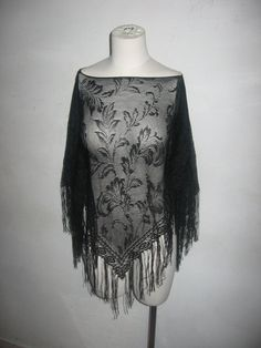 Vintate Apostrophe Black See Thru Floral Mesh Lace Crochet Multi-functional Boho Fringe Piano Shawl Poncho Made In USA One Size Fits All