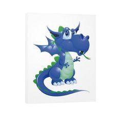 Draco Blue Green Vertical Canvas