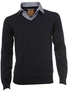 Burton Navy 2 in 1 V-Neck Jumper Navy v-neck jumper with check shirt insert. A great 2 in 1 jumper or work. Create a casual yet sharp look with one of our smart trousers.* 100% Cotton* Shirt includes functional buttonsWash CareThis j http://www.comparestoreprices.co.uk/mens-clothes/burton-navy-2-in-1-v-neck-jumper.asp