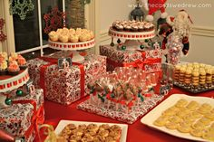 Red and Green Christmas Party - I like the idea of using wrapped boxes to add height to the buffet table.