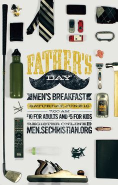 Father's Day #typography collection of fatherly artifacts. love the use of actual objects.