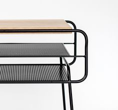 Double nightstand | Iron & wood series by Manuel Barrera