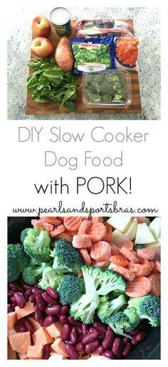 DIY Slow Cooker Dog Food: with Pork! |www.pearlsandsportsbras.com|
