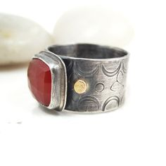 Wide Sterling Silver Ring Orange Carnelian 14k Gold Stamped Rustic Jewelry - Desert Sun Ring Size 8.25. $132.00, via Etsy.